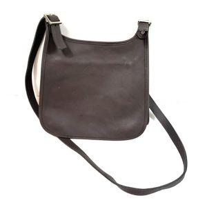 Vtg Coach Brown Leather Slim Saddle Crossbody Bag